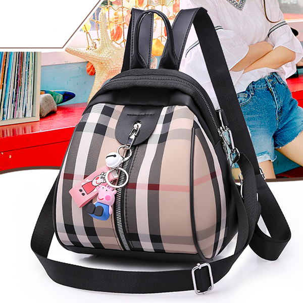 Check Prints Zipper Mini Backpacks - Multi