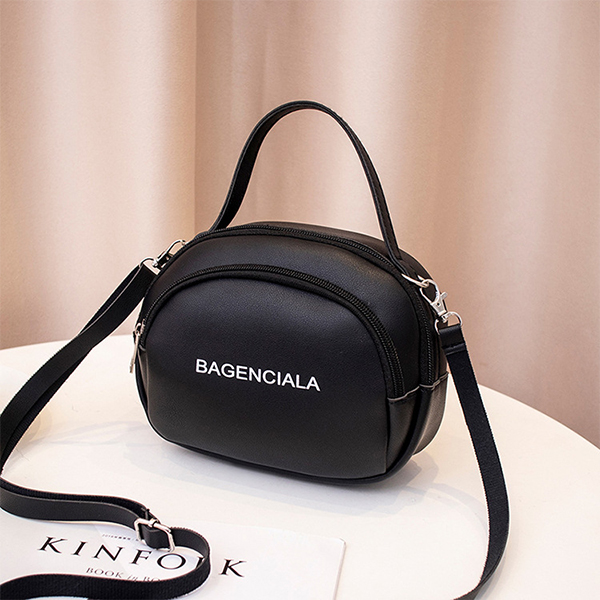 Zipper Pu Leather Fashion Trend Female Shoulder Bag - Black