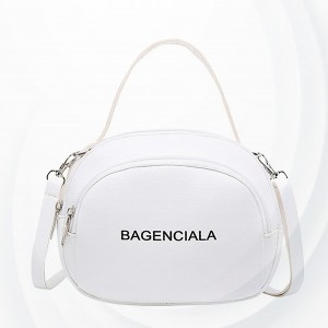 Zipper Pu Leather Fashion Trend Female Shoulder Bag - White