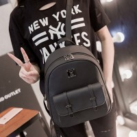 Zipper Round Buckle Flap Casual Backpacks - Black