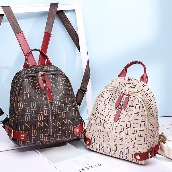Alphabetical Prints Zipper Mini Backpacks - Coffee