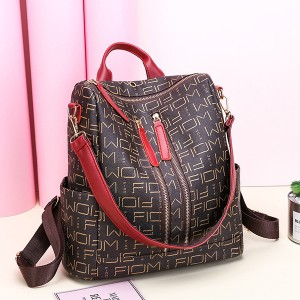 PU Leather Alphabetical Prints Backpack - Brown