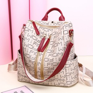 PU Leather Alphabetical Prints Backpack - White