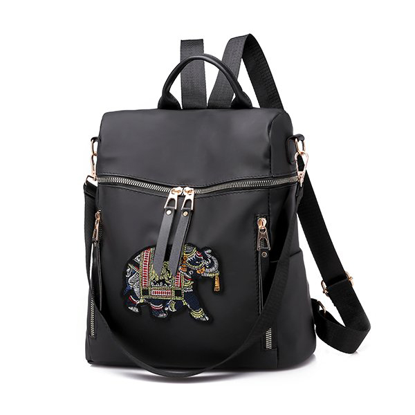 Elephant Embroidery Canvas Backpack - Black