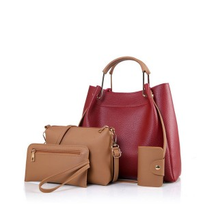 Four-Piece Simple Korean Fashion Soft Portable Bag Red