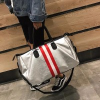 Stripes Pattern Separate Shoe Part Travel Bags - Silver Red