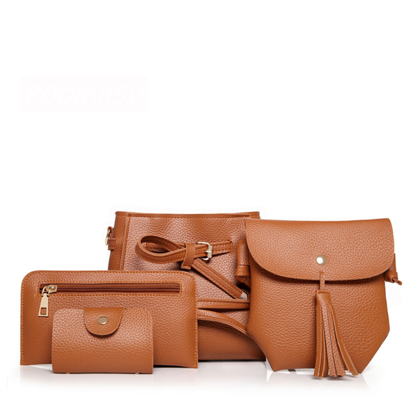 Fine Quality Four Pieces Brown PU Leather Handbags