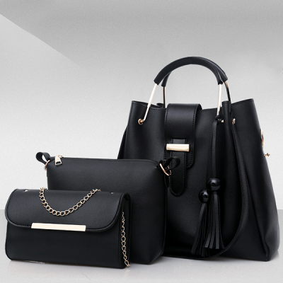 Three Pieces Fine Quality PU Handbags Set - Black