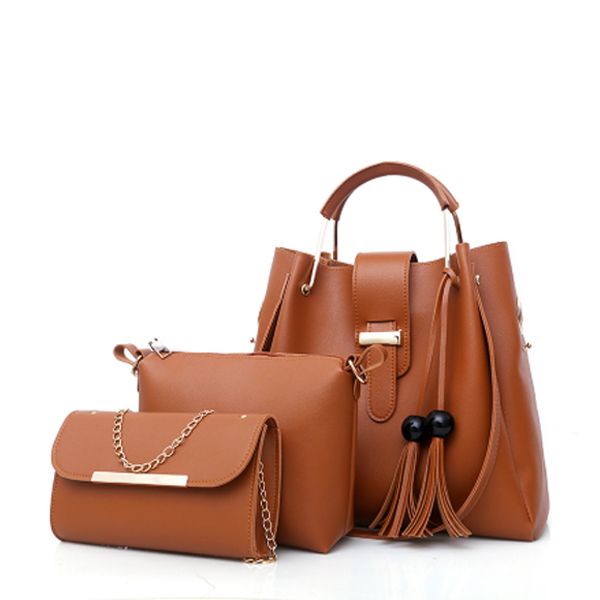 Three Pieces Wide Space Brown Bucket Bags Set