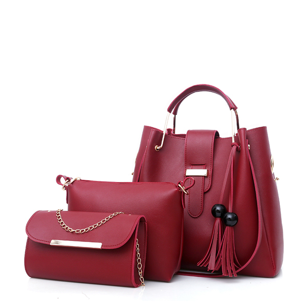 Three Pieces Wide Space Burgundy Bucket Bags Set