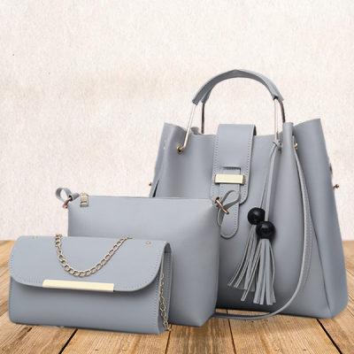 Three Pieces Wide Space Gray Bucket Bags Set