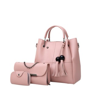 Three Pieces High Quality Pink PU Tassel Handbags