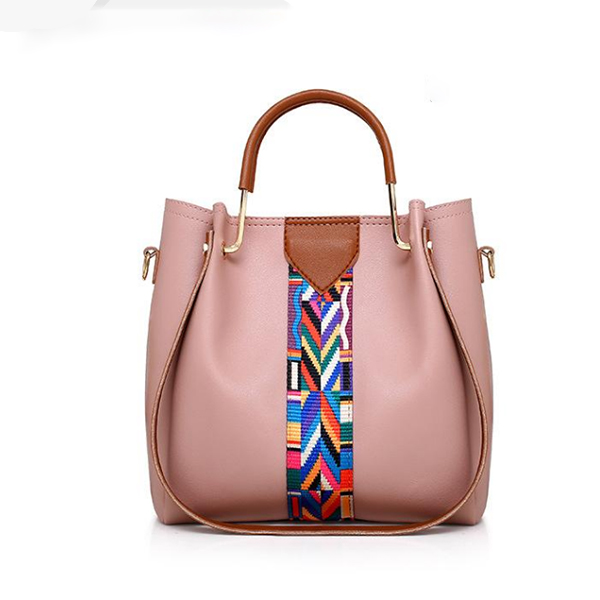 Colorful Contrast PU Leather Quality White Handbags Set