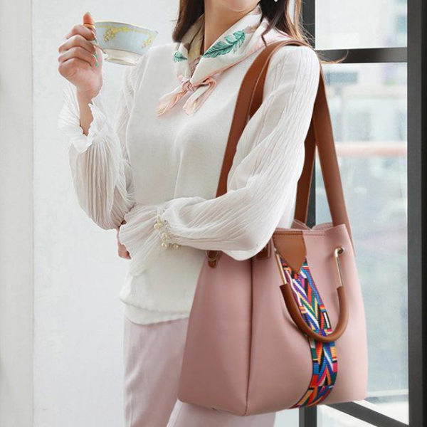 Colorful Contrast PU Leather Quality Pink Handbags Set