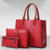 Textured Three Pieces Red Quality Handbags