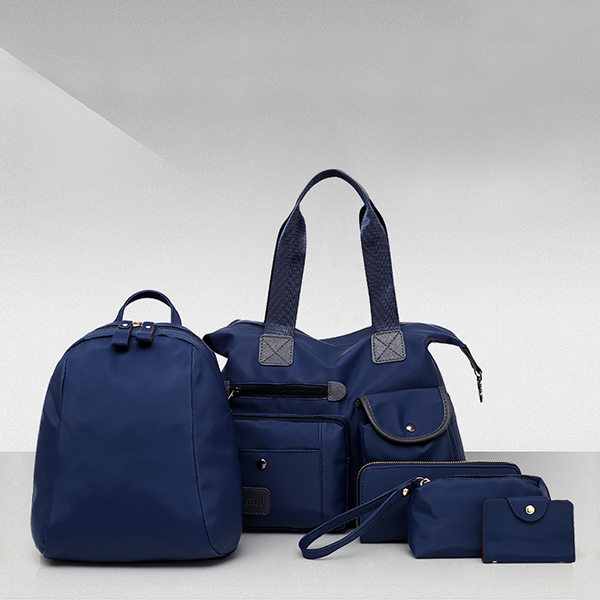 Five Pieces Blue Nylon Canvas Handbags Set