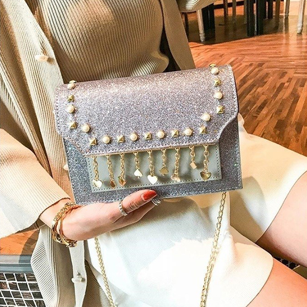 Pearl Tassel Party Collection Purse - Silver