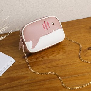 Contrast Little Shark Square Shoulder Bag - Pink