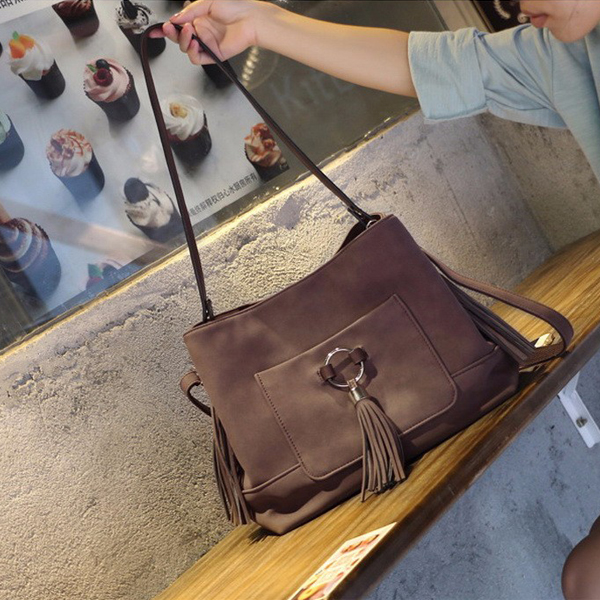 Women Fashionable Tassel Tote Shoulder Bag Coffee