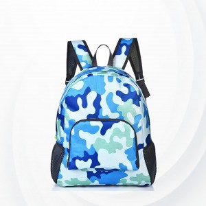Portable Nylon Skin Travel Backpack Bags - Navy Blue