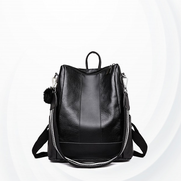 Strapped Dual Textured Leather Backpack - Black