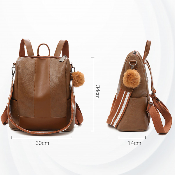 Strapped Dual Textured Leather Backpack - Brown