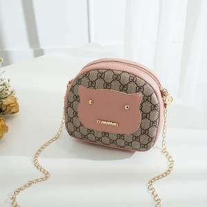 Printed PU Leather Chain Strap Shoulder Bags - Pink