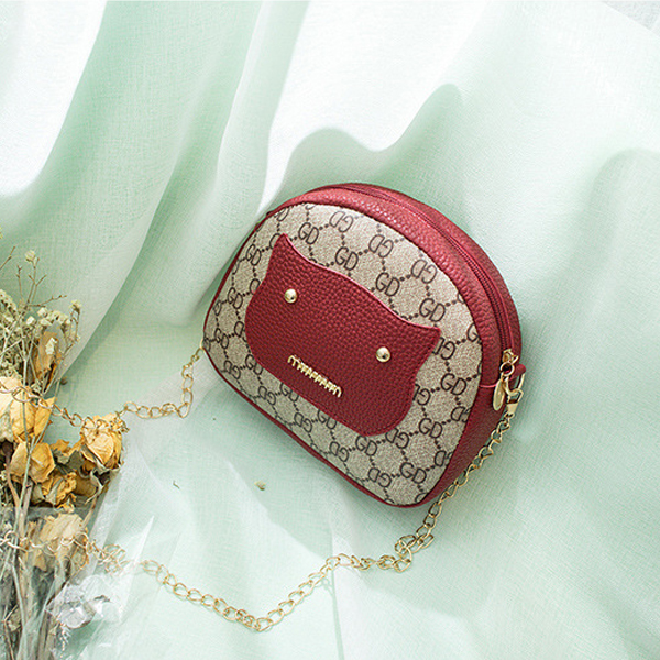 Printed PU Leather Chain Strap Shoulder Bags - Red