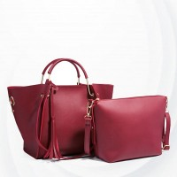 Solid Plain Pattern Two Piece Handbags Set - Red