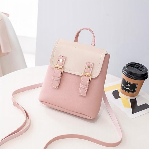 Double Strap Buckle Strap Shoulder Bags - Pink