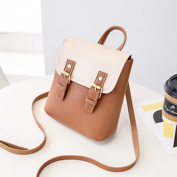 Double Strap Buckle Strap Shoulder Bags - Brown