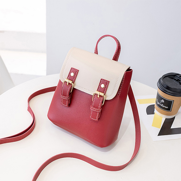 Double Strap Buckle Strap Shoulder Bags - Red