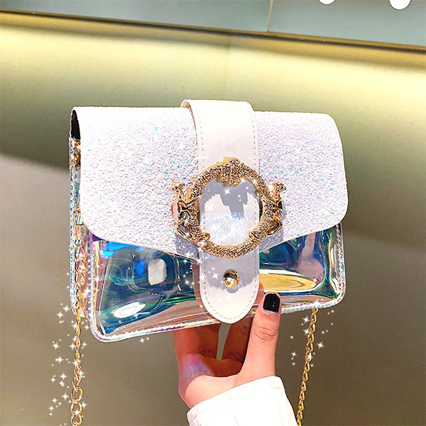 Glitter Magnetic Closure Unicorn Holographic Purse - White