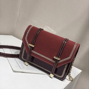 Solid Pattern Suede With Leather Messenger Bags - Red
