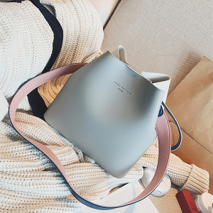 High Quality Soft PU Leather Grey Contrast Shoulder Bag