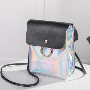 Holographic Contrast Vertical Shoulder Bags - Black