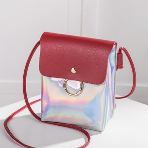 Holographic Contrast Vertical Shoulder Bags - Burgundy