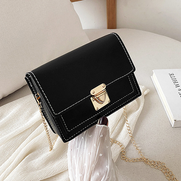 Chain Strapped Press Lock Contrast Purse Bags - Black