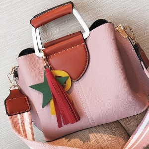 PU Leather Tassel Hanging Pink Crossbody Handbag