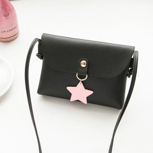 Star Hanging Synthetic Leather Messenger Bags - Black