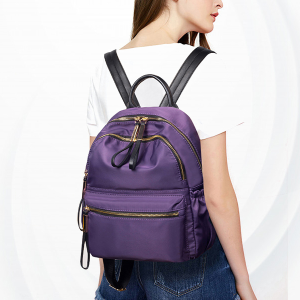 Multi Pockets Synthetic Leather Female Shoulder Bag - Purple