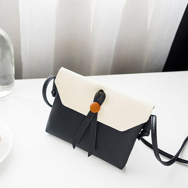 Button Up Double Contrast Shoulder Bags - Black