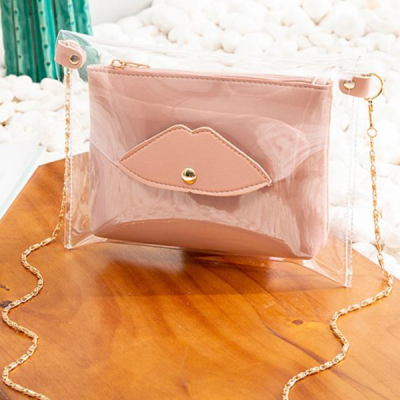Chain Strapped Mini Transparent Jelly Bags - Pink