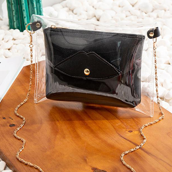 Chain Strapped Mini Transparent Jelly Bags - Black