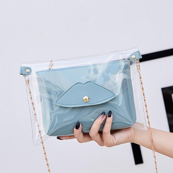 Chain Strapped Mini Transparent Jelly Bags - Grey