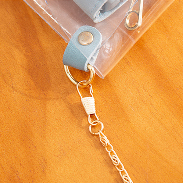 Chain Strapped Mini Transparent Jelly Bags - Blue