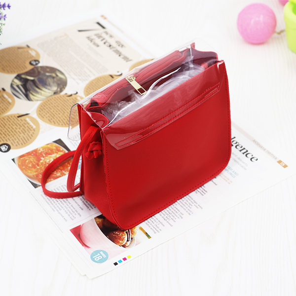 Thread Art Synthetic Leather Jelly Bags - Red
