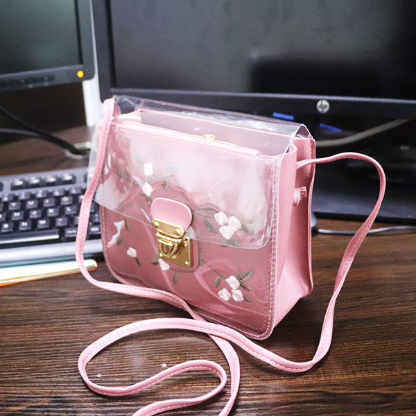 Thread Art Synthetic Leather Jelly Bags - Pink