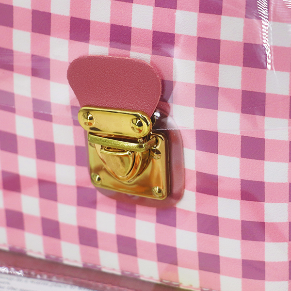 Transparent Buckled Closure Square Pattern Bags - Pink