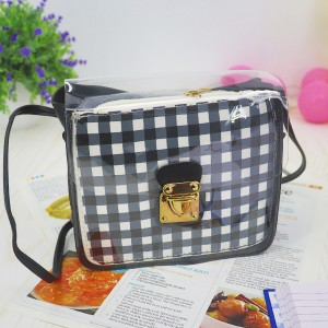 Transparent Buckled Closure Square Pattern Bags - Black